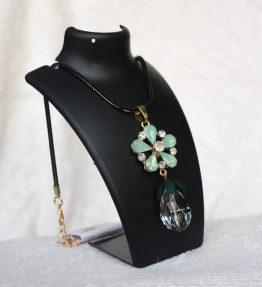 Crystal Flower Pendant Necklace - Mint (1)