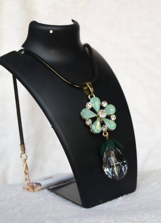 Crystal Flower Pendant Necklace - Mint (1)