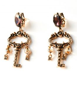 Crystal Key Earrings (1)