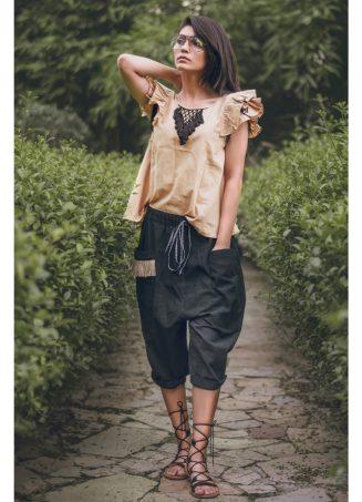 Khadi Black Casual Calf Length Bulgy Pants And Beige Top Set (1)