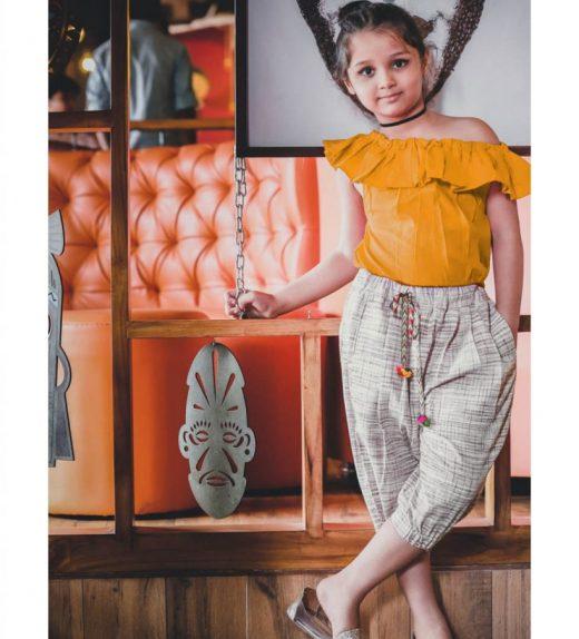 d9761adf73693 Girls Mustard Off Shoulder Top and Coffee Slub Khadi Bottom Set ...
