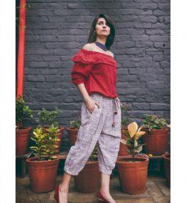 _Red Top and Purple slub canvas khadi calf length pair (1)