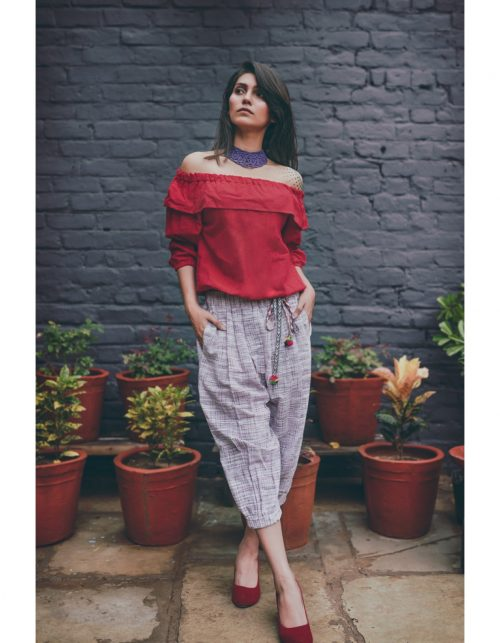 _Red Top and Purple slub canvas khadi calf length pair (3)