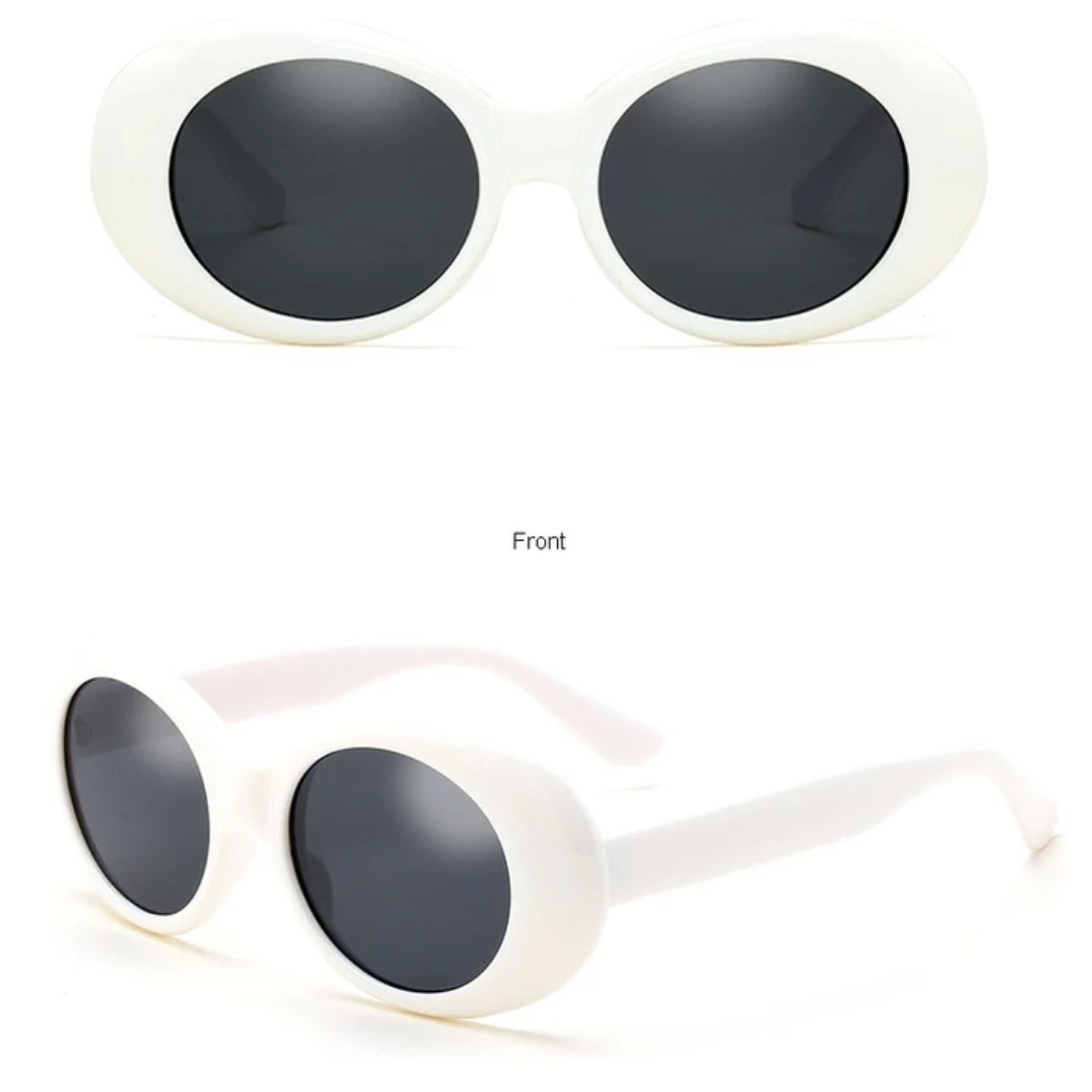 Retro Oval Sunnies - White (2)