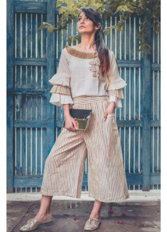 Yellow linning khadi calf length pant With pagoda sleeve Top Set (1)