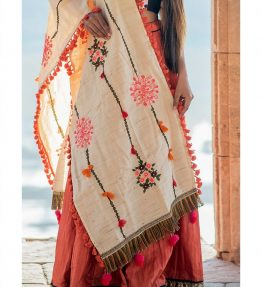 Beige flower bunch embroidered dupatta 1-1200x1500
