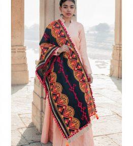 Black traditional embroidered linen festive dupatta-1200x1500