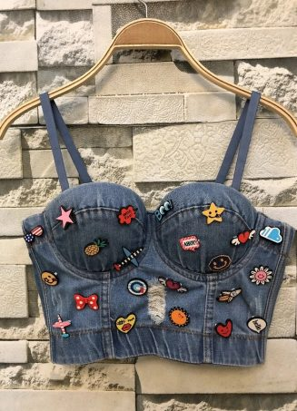 Denim Patchwork Bustier Top (1)