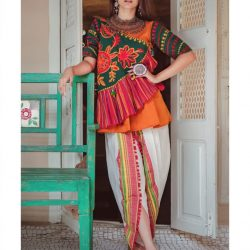 Ladies Deep Green Angarkha Style Kedia And White Tulip Pant With Daman (1)