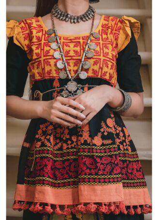 Ladies Embroidered Black Kedia With Black Panel Tulip Pants (2)
