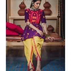 Ladies Embroidered Yoke Purple Kedia With Lemon Tulip Pant (1)