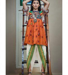 Ladies Halter Neck Fairy Orange Kedia with Tulip Pants (1)