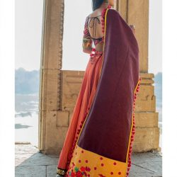 Mustered floral panel linen festive dupatta-1200x1500