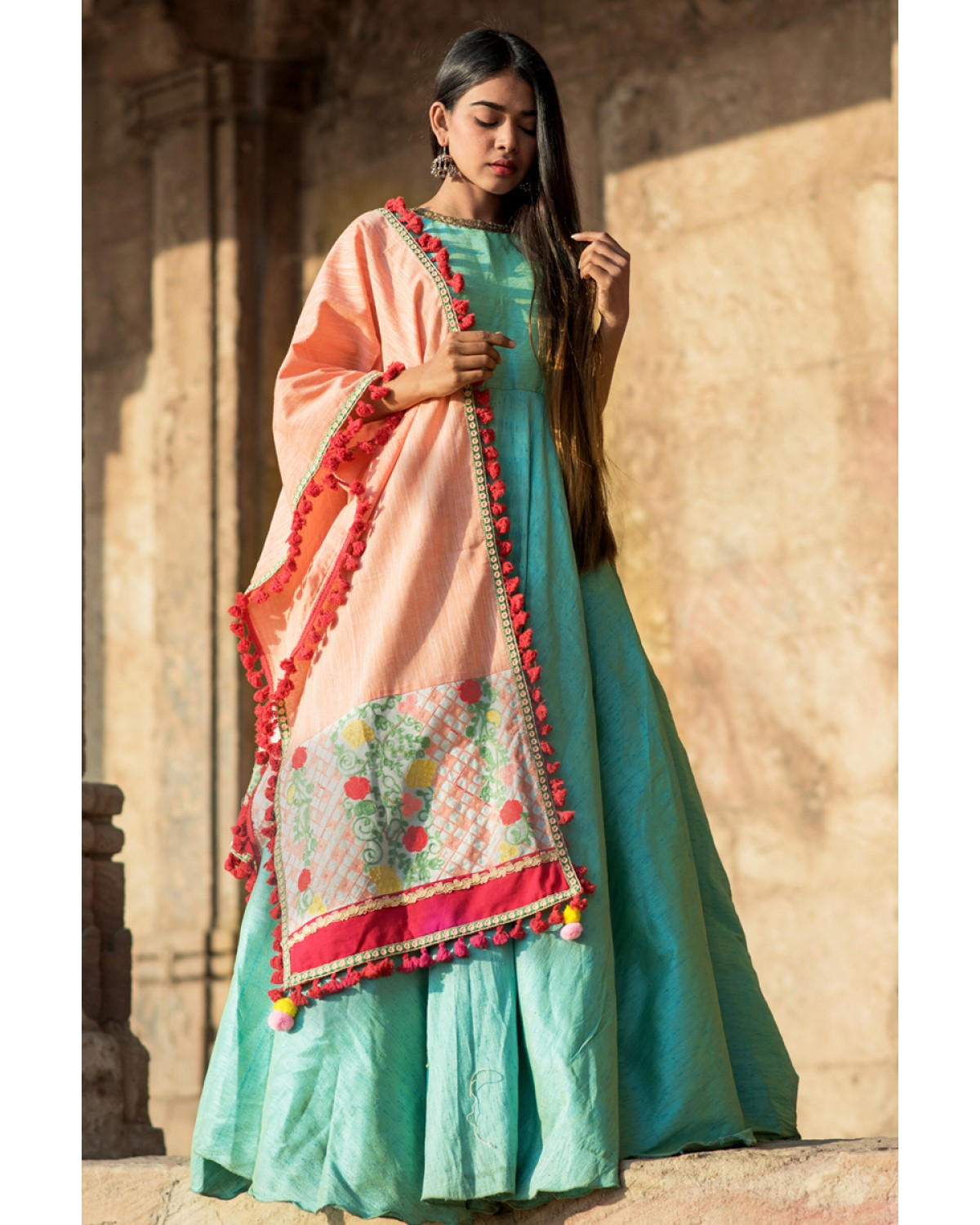 Peach Floral Linen Festive Embroidered Dupatta