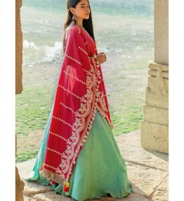 Red linen floral embroidered festive dupatta-1200x1500