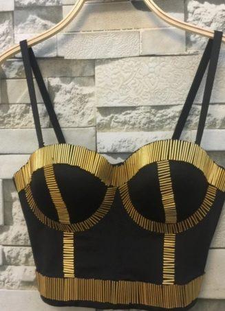 Sequin Bustier Top - Gold (1)