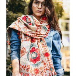 Beige Woollen Embroidered Khadi MufflerStole With African motifs_scarf57 (1)
