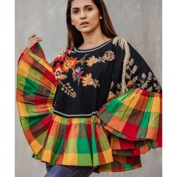 Black Embroidery Poncho Cape With Colorful Check Frill and 3D Flowers_poncho15 (2)