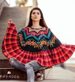 Colorful Embroidered Circular Poncho Cape with 3D flowers_ponch017 (1)