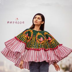 Cute Sparrow Cage Embroidered Circular Poncho with 3D flowers_poncho20 (1)