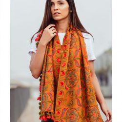 Mono Orange Woollen Embroidered khadi MufflerStole_scarf53 (1)