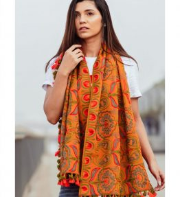 Mono Orange Woollen Embroidered khadi MufflerStole_scarf53 (1)