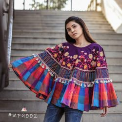 Multi Checks Frill Purple Embroidered Poncho with 3D Flowers_poncho13 (1)