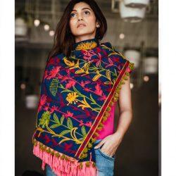 Navy Blue Woollen Embroidered khadi MufflerStole_scarf54 (1)