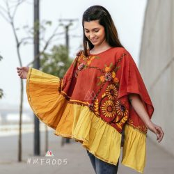 Rust Sunflower Embroidery Assymetric poncho_poncho16 (1)