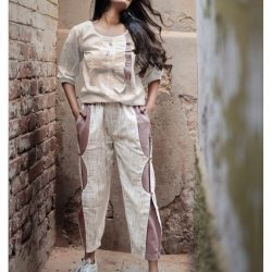 Fantasy Ankle Airforce White Khadi C-Pants and Frilled Top Combo 36 (1)
