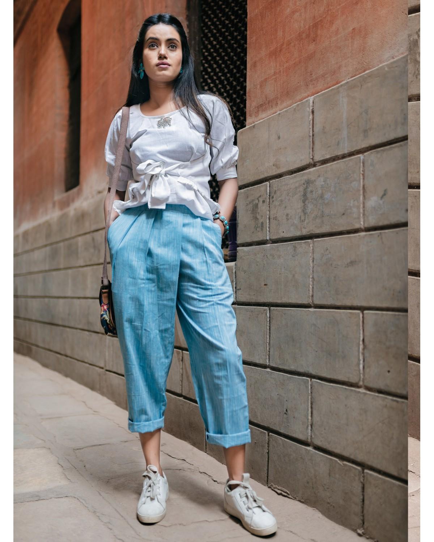 Fantasy Cool Casual Blue Denim Slub Khadi Pants And Waist Tieup Top 39 (1)