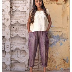 Fantasy Dull Lilac Slub Casual Pleated Khadi Pants and Top Combo 38 (1)