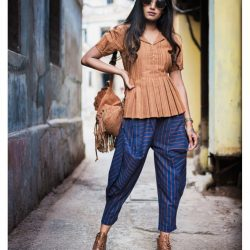 Fantasy Khadi Blue Hanging Cowl Baggy Ankle Length Pants And Rust Top 32 (1)