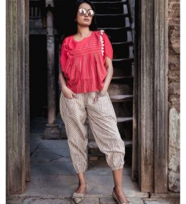 Fantasy Red Khadi Batwing Top And Jawahar Stripie Pants Combo 41 (1)