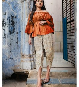 Fantasy Rust-Mehendi Slub Khadi Tulip Pants And Offshoulder Top Combo 34(1)