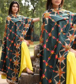 MF1601_Poison Green Heavily Aari Embroidered Khadi ShawlDupatta with Kaccha Tassel Lace (1)