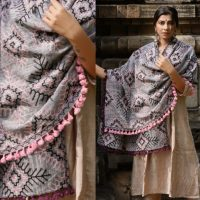 MF1604_Grey Tribal Star MotifsAari Embrodiered Slub Khadi ShawlDupatta With Baby Ping Cotton Lace (1)