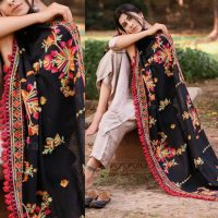 MF1605_Black Kashmiri Motif Aari Embroidered Khadi ShawlDupatta With Crimson Red Cotton Tassel (1)