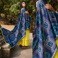 MF1606_Navy Blue Warli Tribal Motif Aari Embroidered Khadi ShawlDupatta With Kaccha Tassel Lace (1)