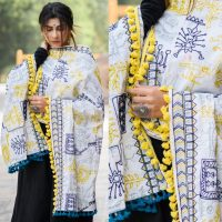 MF1607_White Tribal Motif Aari Embroidered Khadi ShawlDupatta With Lemon Tassel Lace (1)