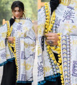 MF1607_White Tribal Motif Aari Embroidered Khadi ShawlDupatta With Lemon Tassel Lace (1)