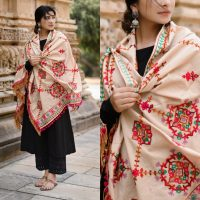 MF1608_Beige Floral Motifs Aari Heavily Embroidered Khadi ShawlDupatta With Rani Tassel Lace (1)