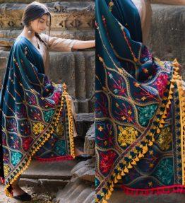 MF1609_Turqoise Blue Multi colour Asri heavily Embroidered Khadi ShawlDupatta With Yellow Tassel Lace (1)