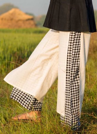 Black And White Chex Linen Pant With Black Sexy Top_khadiset27 (2)