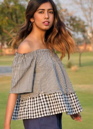 Black And White Chex linen Top with Navy Blue Pleated Pant_khadiset29 (3)