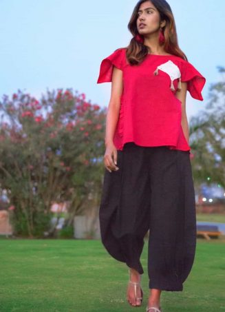 Blood Red Top with Elastic Black Linen Pant_khadiset31 (1)