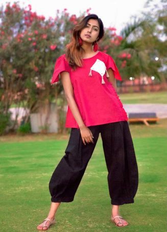 Blood Red Top with Elastic Black Linen Pant_khadiset31 (2)