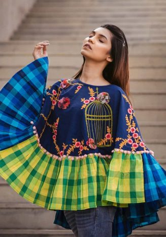 Checks Frill Embroidery Poncho With 3d Flowers_poncho12 (2)