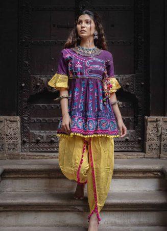Deep Purple khadi embroidered kedia and tulip pants-1200x1500