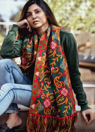 Deep green Woollen Heavily Embroidered Khadi MufflerStole_scarf55 (1)